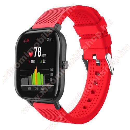 Huami Amazfit Youth Edition LiteOkosóra szíj - szilikon, textúrált mintás - PIROS - 85mm+127mm hosszú, 20mm széles, 135-205mm átmérőjű csuklóméretig - SAMSUNG Galaxy Watch 42mm / Xiaomi Amazfit GTS / SAMSUNG Gear S2 / HUAWEI Watch GT 2 42mm / Galaxy Watch Active / Active 2