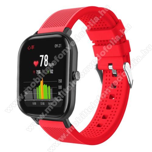 Garmin VenuOkosóra szíj - szilikon, textúrált mintás - PIROS - 85mm+127mm hosszú, 20mm széles, 135-205mm átmérőjű csuklóméretig - SAMSUNG Galaxy Watch 42mm / Xiaomi Amazfit GTS / SAMSUNG Gear S2 / HUAWEI Watch GT 2 42mm / Galaxy Watch Active / Active 2