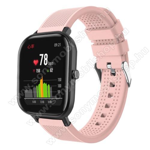 Okosóra szíj - szilikon, textúrált mintás - RÓZSASZÍN - 85mm+127mm hosszú, 20mm széles, 135-205mm átmérőjű csuklóméretig - SAMSUNG Galaxy Watch 42mm / Xiaomi Amazfit GTS / SAMSUNG Gear S2 / HUAWEI Watch GT 2 42mm / Galaxy Watch Active / Active 2