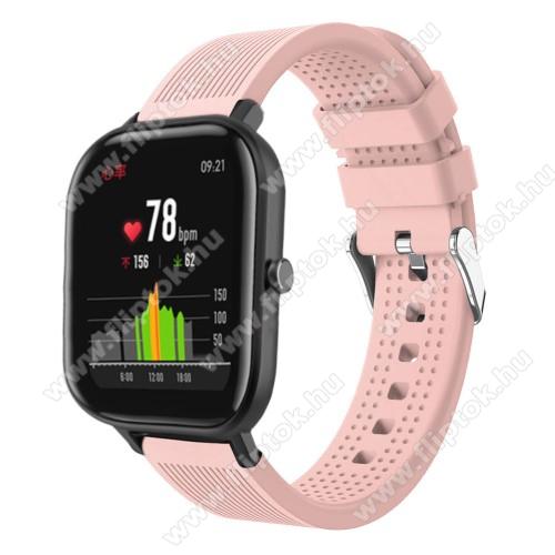 EVOLVEO SPORTWATCH M1SOkosóra szíj - szilikon, textúrált mintás - RÓZSASZÍN - 85mm+127mm hosszú, 20mm széles, 135-205mm átmérőjű csuklóméretig - SAMSUNG Galaxy Watch 42mm / Xiaomi Amazfit GTS / SAMSUNG Gear S2 / HUAWEI Watch GT 2 42mm / Galaxy Watch Active / Active 2