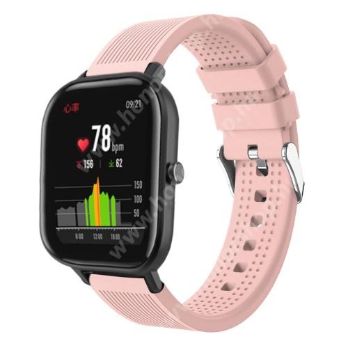 HUAWEI Honor Watch ES Okosóra szíj - szilikon, textúrált mintás - RÓZSASZÍN - 85mm+127mm hosszú, 20mm széles, 135-205mm átmérőjű csuklóméretig - SAMSUNG Galaxy Watch 42mm / Xiaomi Amazfit GTS / SAMSUNG Gear S2 / HUAWEI Watch GT 2 42mm / Galaxy Watch Active / Active 2