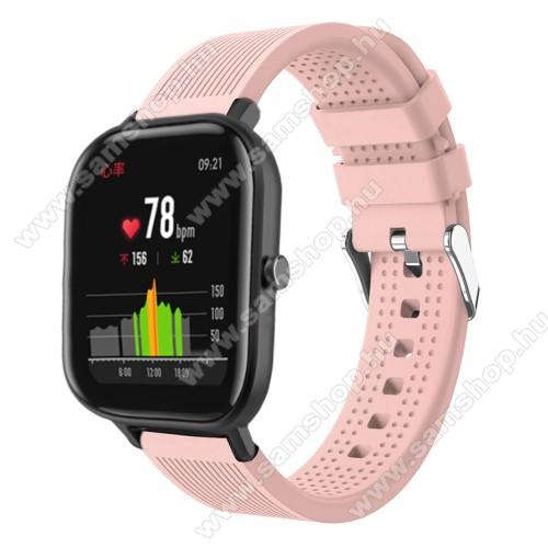SAMSUNG Galaxy Watch Active2 44mmOkosóra szíj - szilikon, textúrált mintás - RÓZSASZÍN - 85mm+127mm hosszú, 20mm széles, 135-205mm átmérőjű csuklóméretig - SAMSUNG Galaxy Watch 42mm / Xiaomi Amazfit GTS / SAMSUNG Gear S2 / HUAWEI Watch GT 2 42mm / Galaxy Watch Active / Active 2