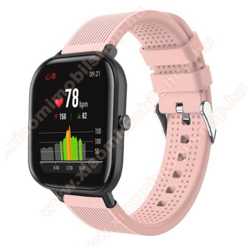 Xiaomi Amazfit Youth EditionOkosóra szíj - szilikon, textúrált mintás - RÓZSASZÍN - 85mm+127mm hosszú, 20mm széles, 135-205mm átmérőjű csuklóméretig - SAMSUNG Galaxy Watch 42mm / Xiaomi Amazfit GTS / SAMSUNG Gear S2 / HUAWEI Watch GT 2 42mm / Galaxy Watch Active / Active 2