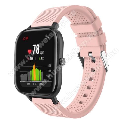 HUAWEI Honor MagicWatch 2 42mmOkosóra szíj - szilikon, textúrált mintás - RÓZSASZÍN - 85mm+127mm hosszú, 20mm széles, 135-205mm átmérőjű csuklóméretig - SAMSUNG Galaxy Watch 42mm / Xiaomi Amazfit GTS / SAMSUNG Gear S2 / HUAWEI Watch GT 2 42mm / Galaxy Watch Active / Active 2