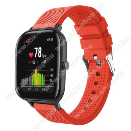 HUAWEI MagicWatch 2 42mmOkosóra szíj - szilikon, textúrált mintás - NARANCS - 85mm+127mm hosszú, 20mm széles, 135-205mm átmérőjű csuklóméretig - SAMSUNG Galaxy Watch 42mm / Xiaomi Amazfit GTS / HUAWEI Watch GT / SAMSUNG Gear S2 / HUAWEI Watch GT 2 42mm / Galaxy Watch Active / Ac
