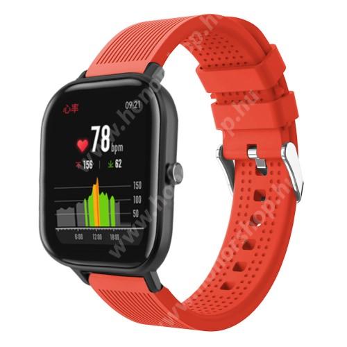 HUAWEI Honor MagicWatch 2 42mm Okosóra szíj - szilikon, textúrált mintás - NARANCS - 85mm+127mm hosszú, 20mm széles, 135-205mm átmérőjű csuklóméretig - SAMSUNG Galaxy Watch 42mm / Xiaomi Amazfit GTS / SAMSUNG Gear S2 / HUAWEI Watch GT 2 42mm / Galaxy Watch Active / Active 2