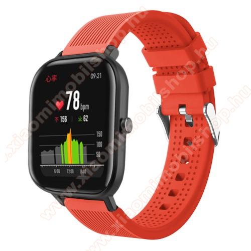 Huami Amazfit Youth Edition LiteOkosóra szíj - szilikon, textúrált mintás - NARANCS - 85mm+127mm hosszú, 20mm széles, 135-205mm átmérőjű csuklóméretig - SAMSUNG Galaxy Watch 42mm / Xiaomi Amazfit GTS / SAMSUNG Gear S2 / HUAWEI Watch GT 2 42mm / Galaxy Watch Active / Active 2