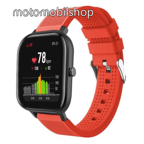 Okosóra szíj - szilikon, textúrált mintás - NARANCS - 85mm+127mm hosszú, 20mm széles, 135-205mm átmérőjű csuklóméretig - SAMSUNG Galaxy Watch 42mm / Xiaomi Amazfit GTS / SAMSUNG Gear S2 / HUAWEI Watch GT 2 42mm / Galaxy Watch Active / Active 2