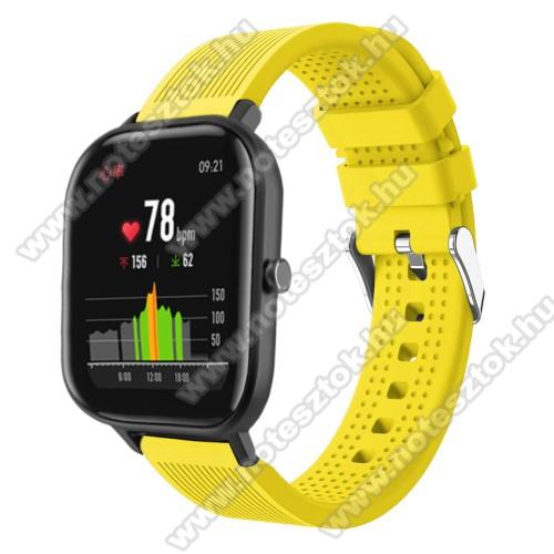 WOTCHI SmartWatch W22SOkosóra szíj - szilikon, textúrált mintás - SÁRGA - 85mm+127mm hosszú, 20mm széles, 135-205mm átmérőjű csuklóméretig - SAMSUNG Galaxy Watch 42mm / Xiaomi Amazfit GTS / SAMSUNG Gear S2 / HUAWEI Watch GT 2 42mm / Galaxy Watch Active / Active 2