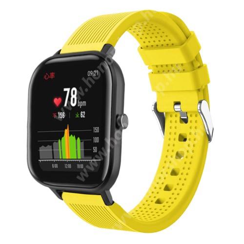 HUAWEI Honor MagicWatch 2 42mm Okosóra szíj - szilikon, textúrált mintás - SÁRGA - 85mm+127mm hosszú, 20mm széles, 135-205mm átmérőjű csuklóméretig - SAMSUNG Galaxy Watch 42mm / Xiaomi Amazfit GTS / SAMSUNG Gear S2 / HUAWEI Watch GT 2 42mm / Galaxy Watch Active / Active 2