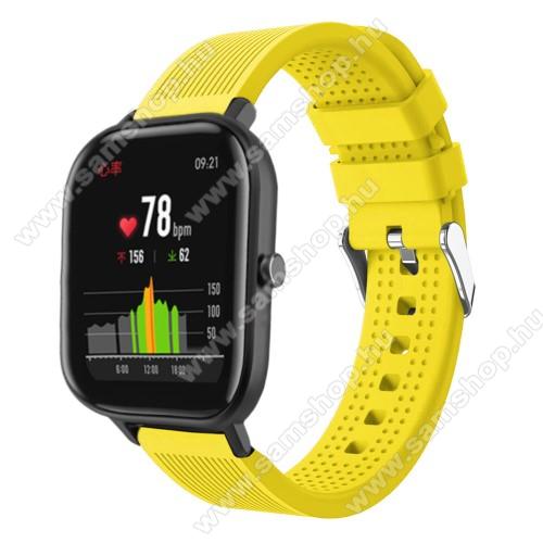 SAMSUNG Galaxy Watch Active2 40mmOkosóra szíj - szilikon, textúrált mintás - SÁRGA - 85mm+127mm hosszú, 20mm széles, 135-205mm átmérőjű csuklóméretig - SAMSUNG Galaxy Watch 42mm / Xiaomi Amazfit GTS / SAMSUNG Gear S2 / HUAWEI Watch GT 2 42mm / Galaxy Watch Active / Active 2