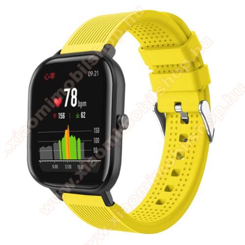 Huami Amazfit Youth Edition LiteOkosóra szíj - szilikon, textúrált mintás - SÁRGA - 85mm+127mm hosszú, 20mm széles, 135-205mm átmérőjű csuklóméretig - SAMSUNG Galaxy Watch 42mm / Xiaomi Amazfit GTS / SAMSUNG Gear S2 / HUAWEI Watch GT 2 42mm / Galaxy Watch Active / Active 2