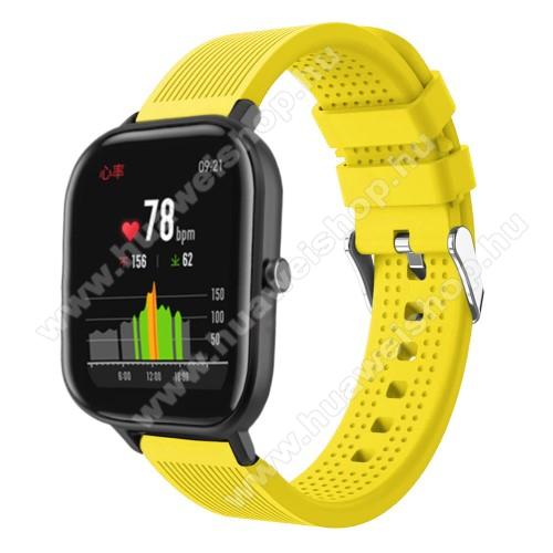 HUAWEI Honor MagicWatch 2 42mmOkosóra szíj - szilikon, textúrált mintás - SÁRGA - 85mm+127mm hosszú, 20mm széles, 135-205mm átmérőjű csuklóméretig - SAMSUNG Galaxy Watch 42mm / Xiaomi Amazfit GTS / SAMSUNG Gear S2 / HUAWEI Watch GT 2 42mm / Galaxy Watch Active / Active 2