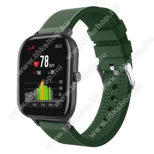 vivo Watch 42mmOkosóra szíj - szilikon, textúrált mintás - SÖTÉTZÖLD - 85mm+127mm hosszú, 20mm széles, 135-205mm átmérőjű csuklóméretig - SAMSUNG Galaxy Watch 42mm / Xiaomi Amazfit GTS / SAMSUNG Gear S2 / HUAWEI Watch GT 2 42mm / Galaxy Watch Active / Active 2