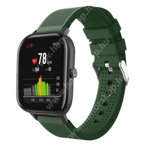 HUAWEI Honor MagicWatch 2 42mm Okosóra szíj - szilikon, textúrált mintás - SÖTÉTZÖLD - 85mm+127mm hosszú, 20mm széles, 135-205mm átmérőjű csuklóméretig - SAMSUNG Galaxy Watch 42mm / Xiaomi Amazfit GTS / SAMSUNG Gear S2 / HUAWEI Watch GT 2 42mm / Galaxy Watch Active / Active 2