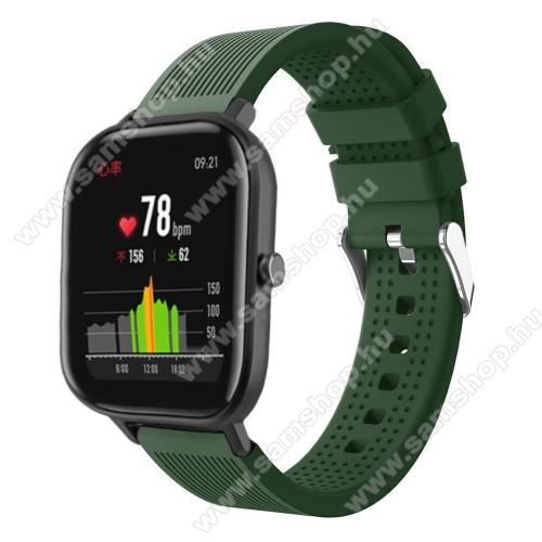 SAMSUNG Galaxy Watch Active2 40mmOkosóra szíj - szilikon, textúrált mintás - SÖTÉTZÖLD - 85mm+127mm hosszú, 20mm széles, 135-205mm átmérőjű csuklóméretig - SAMSUNG Galaxy Watch 42mm / Xiaomi Amazfit GTS / SAMSUNG Gear S2 / HUAWEI Watch GT 2 42mm / Galaxy Watch Active / Active 2