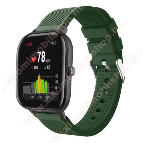 Xiaomi Amazfit Youth EditionOkosóra szíj - szilikon, textúrált mintás - SÖTÉTZÖLD - 85mm+127mm hosszú, 20mm széles, 135-205mm átmérőjű csuklóméretig - SAMSUNG Galaxy Watch 42mm / Xiaomi Amazfit GTS / SAMSUNG Gear S2 / HUAWEI Watch GT 2 42mm / Galaxy Watch Active / Active 2