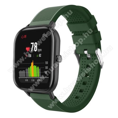 HUAWEI Honor MagicWatch 2 42mmOkosóra szíj - szilikon, textúrált mintás - SÖTÉTZÖLD - 85mm+127mm hosszú, 20mm széles, 135-205mm átmérőjű csuklóméretig - SAMSUNG Galaxy Watch 42mm / Xiaomi Amazfit GTS / SAMSUNG Gear S2 / HUAWEI Watch GT 2 42mm / Galaxy Watch Active / Active 2