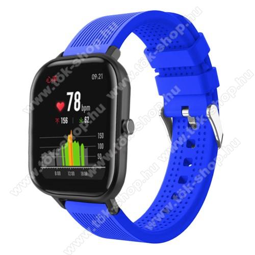 HUAWEI MagicWatch 2 42mmOkosóra szíj - szilikon, textúrált mintás - KÉK - 85mm+127mm hosszú, 20mm széles, 135-205mm átmérőjű csuklóméretig - SAMSUNG Galaxy Watch 42mm / Xiaomi Amazfit GTS / HUAWEI Watch GT / SAMSUNG Gear S2 / HUAWEI Watch GT 2 42mm / Galaxy Watch Active / Active