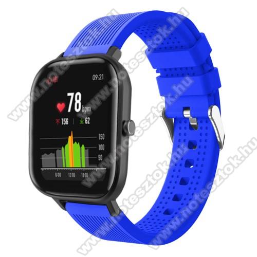 WOTCHI SmartWatch W22SOkosóra szíj - szilikon, textúrált mintás - KÉK - 85mm+127mm hosszú, 20mm széles, 135-205mm átmérőjű csuklóméretig - SAMSUNG Galaxy Watch 42mm / Xiaomi Amazfit GTS / SAMSUNG Gear S2 / HUAWEI Watch GT 2 42mm / Galaxy Watch Active / Active 2