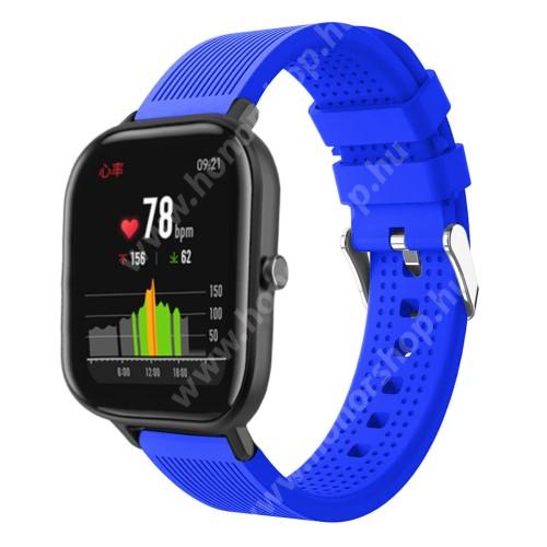 HUAWEI Honor MagicWatch 2 42mm Okosóra szíj - szilikon, textúrált mintás - KÉK - 85mm+127mm hosszú, 20mm széles, 135-205mm átmérőjű csuklóméretig - SAMSUNG Galaxy Watch 42mm / Xiaomi Amazfit GTS / SAMSUNG Gear S2 / HUAWEI Watch GT 2 42mm / Galaxy Watch Active / Active 2