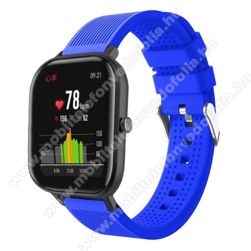 Garmin VenuOkosóra szíj - szilikon, textúrált mintás - KÉK - 85mm+127mm hosszú, 20mm széles, 135-205mm átmérőjű csuklóméretig - SAMSUNG Galaxy Watch 42mm / Xiaomi Amazfit GTS / SAMSUNG Gear S2 / HUAWEI Watch GT 2 42mm / Galaxy Watch Active / Active 2