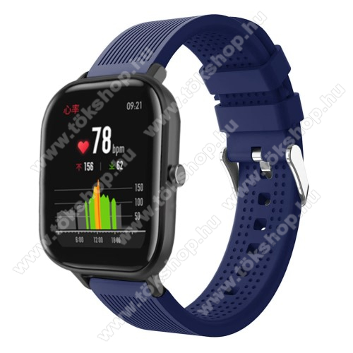 vivo Watch 42mmOkosóra szíj - szilikon, textúrált mintás - SÖTÉTKÉK - 85mm+127mm hosszú, 20mm széles, 135-205mm átmérőjű csuklóméretig - SAMSUNG Galaxy Watch 42mm / Xiaomi Amazfit GTS / SAMSUNG Gear S2 / HUAWEI Watch GT 2 42mm / Galaxy Watch Active / Active 2