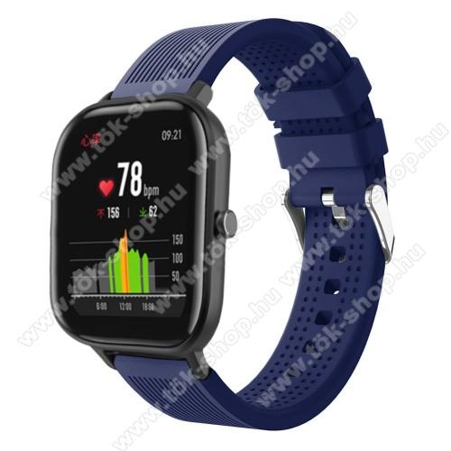 HUAWEI MagicWatch 2 42mmOkosóra szíj - szilikon, textúrált mintás - SÖTÉTKÉK - 85mm+127mm hosszú, 20mm széles, 135-205mm átmérőjű csuklóméretig - SAMSUNG Galaxy Watch 42mm / Xiaomi Amazfit GTS / HUAWEI Watch GT / SAMSUNG Gear S2 / HUAWEI Watch GT 2 42mm / Galaxy Watch Active / A