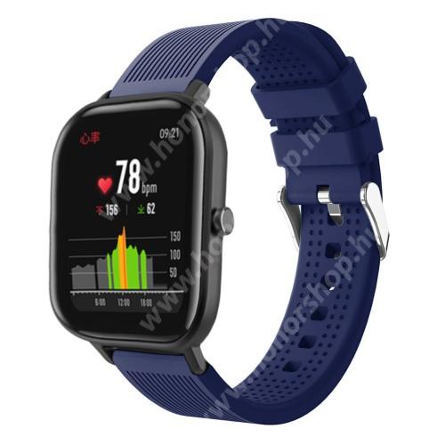 HUAWEI Honor MagicWatch 2 42mm Okosóra szíj - szilikon, textúrált mintás - SÖTÉTKÉK - 85mm+127mm hosszú, 20mm széles, 135-205mm átmérőjű csuklóméretig - SAMSUNG Galaxy Watch 42mm / Xiaomi Amazfit GTS / SAMSUNG Gear S2 / HUAWEI Watch GT 2 42mm / Galaxy Watch Active / Active 2