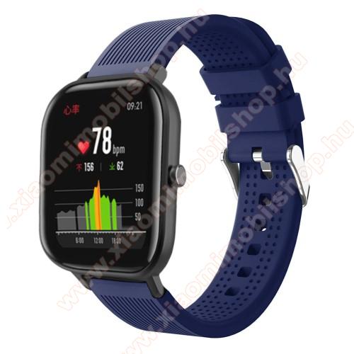 Huami Amazfit Youth Edition LiteOkosóra szíj - szilikon, textúrált mintás - SÖTÉTKÉK - 85mm+127mm hosszú, 20mm széles, 135-205mm átmérőjű csuklóméretig - SAMSUNG Galaxy Watch 42mm / Xiaomi Amazfit GTS / SAMSUNG Gear S2 / HUAWEI Watch GT 2 42mm / Galaxy Watch Active / Active 2