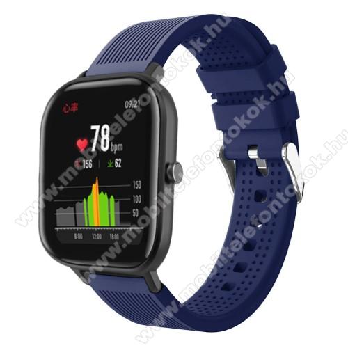 Xiaomi Amazfit NeoOkosóra szíj - szilikon, textúrált mintás - SÖTÉTKÉK - 85mm+127mm hosszú, 20mm széles, 135-205mm átmérőjű csuklóméretig - SAMSUNG Galaxy Watch 42mm / Xiaomi Amazfit GTS / SAMSUNG Gear S2 / HUAWEI Watch GT 2 42mm / Galaxy Watch Active / Active 2