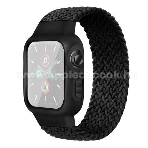 Okosóra szíj / szilikon tok - FEKETE - fonott szövet körpánt, szilikon védő keret, 170mm hosszú, 170-180mm-es csuklóra -  Apple Watch Series 1/2/3 38mm / APPLE Watch Series 4/5/6 40mm / Watch SE 40mm