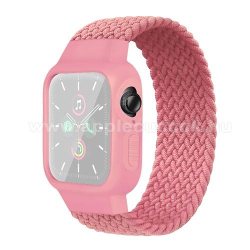 Okosóra szíj / szilikon tok - RÓZSASZÍN - fonott szövet körpánt, szilikon védő keret, 170mm hosszú, 170-180mm-es csuklóra -  Apple Watch Series 1/2/3 38mm / APPLE Watch Series 4/5/6 40mm / Watch SE 40mm