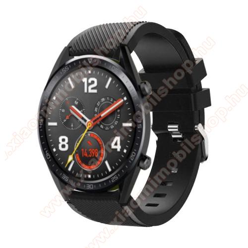 Xiaomi AmazfitOkosóra szíj - szilikon, Twill mintás - 77mm + 104mm hosszú, 22mm széles - FEKETE - HUAWEI Watch GT / HUAWEI Watch Magic / Watch GT 2 46mm