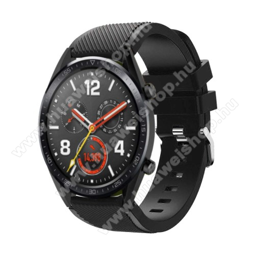 HUAWEI Watch GT 2 46mm Okosóra szíj - szilikon, Twill mintás - 77mm + 104mm hosszú, 20mm széles - FEKETE - HUAWEI Watch GT / HUAWEI Watch Magic / Watch GT 2 46mm