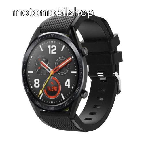 Okosóra szíj - szilikon, Twill mintás - 77mm + 104mm hosszú, 22mm széles - FEKETE - HUAWEI Watch GT / HUAWEI Watch Magic / Watch GT 2 46mm