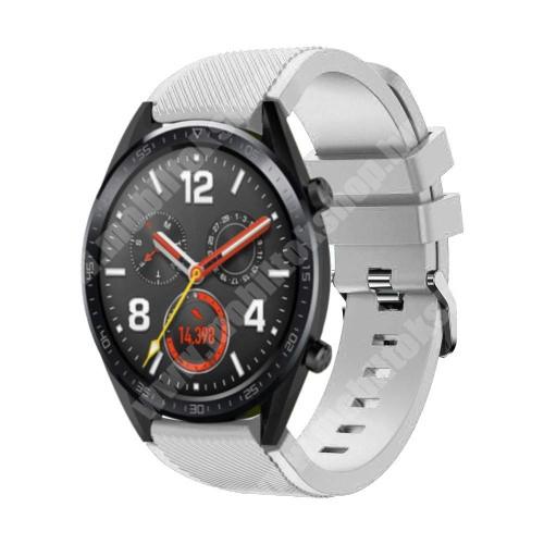 Okosóra szíj - szilikon, Twill mintás - 77mm + 104mm hosszú, 22mm széles - FEHÉR - HUAWEI Watch GT / HUAWEI Watch Magic / Watch GT 2 46mm