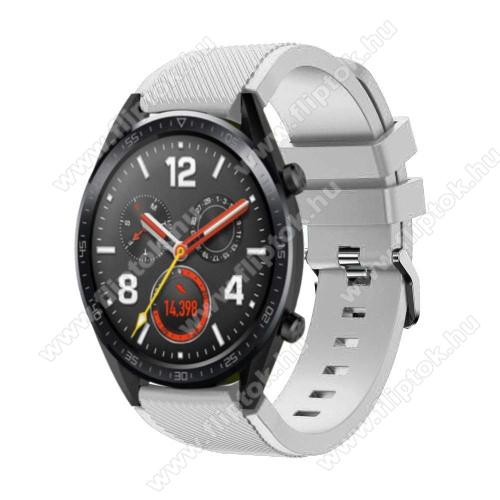 ZTE Watch GTOkosóra szíj - szilikon, Twill mintás - 77mm + 104mm hosszú, 22mm széles - FEHÉR - HUAWEI Watch GT / HUAWEI Watch Magic / Watch GT 2 46mm