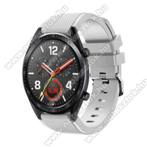 WOTCHI Smartwatch WT35BLLOkosóra szíj - szilikon, Twill mintás - 77mm + 104mm hosszú, 22mm széles - FEHÉR - HUAWEI Watch GT / HUAWEI Watch Magic / Watch GT 2 46mm