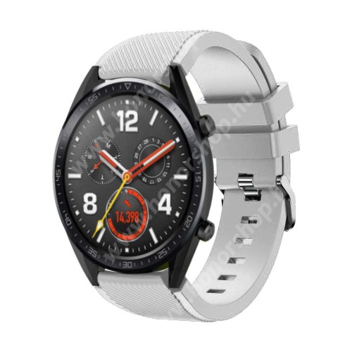 HUAWEI Watch GT 2 46mm Okosóra szíj - szilikon, Twill mintás - 77mm + 104mm hosszú, 22mm széles - FEHÉR - HUAWEI Watch GT / HUAWEI Watch Magic / Watch GT 2 46mm