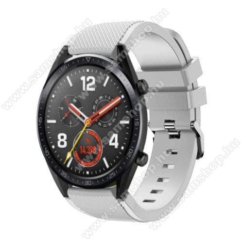 SAMSUNG Galaxy Watch3 45mm (SM-R845F)Okosóra szíj - szilikon, Twill mintás - 77mm + 104mm hosszú, 22mm széles - FEHÉR - HUAWEI Watch GT / HUAWEI Watch Magic / Watch GT 2 46mm