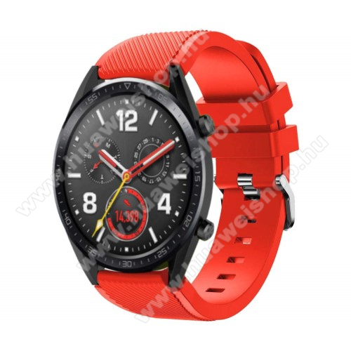 HUAWEI Watch GT 2 46mm Okosóra szíj - szilikon, Twill mintás - 77mm + 104mm hosszú, 20mm széles - PIROS - HUAWEI Watch GT / HUAWEI Watch Magic / Watch GT 2 46mm