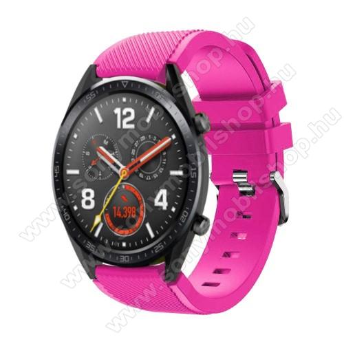 Okosóra szíj - szilikon, Twill mintás - 77mm + 104mm hosszú, 22mm széles - RÓZSASZÍN - HUAWEI Watch GT / HUAWEI Watch Magic / Watch GT 2 46mm