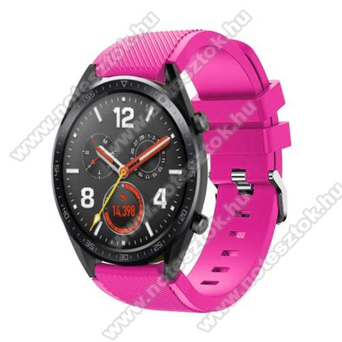 ZTE Watch GTOkosóra szíj - szilikon, Twill mintás - 77mm + 104mm hosszú, 22mm széles - RÓZSASZÍN - HUAWEI Watch GT / HUAWEI Watch Magic / Watch GT 2 46mm