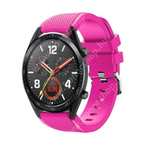HUAWEI Watch GT 46mm Okosóra szíj - szilikon, Twill mintás - 77mm + 104mm hosszú, 22mm széles - RÓZSASZÍN - HUAWEI Watch GT / HUAWEI Watch Magic / Watch GT 2 46mm