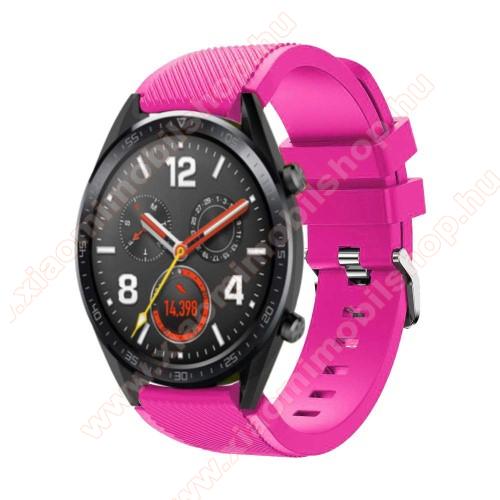 Xiaomi Amazfit 2Okosóra szíj - szilikon, Twill mintás - 77mm + 104mm hosszú, 22mm széles - RÓZSASZÍN - HUAWEI Watch GT / HUAWEI Watch Magic / Watch GT 2 46mm