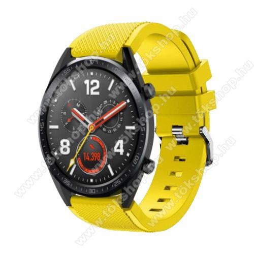 Okosóra szíj - szilikon, Twill mintás - 77mm + 104mm hosszú, 22mm széles - CITROMSÁRGA - HUAWEI Watch GT / HUAWEI Watch Magic / Watch GT 2 46mm