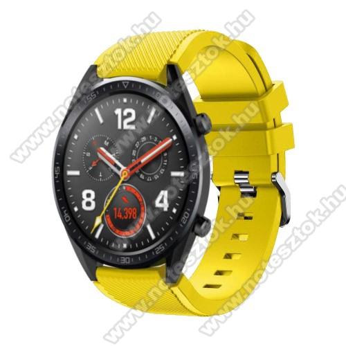 HUAWEI Honor MagicWatch 2 46mmOkosóra szíj - szilikon, Twill mintás - 77mm + 104mm hosszú, 22mm széles - CITROMSÁRGA - HUAWEI Watch GT / HUAWEI Watch Magic / Watch GT 2 46mm