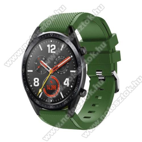 ZTE Watch GTOkosóra szíj - szilikon, Twill mintás - 77mm + 104mm hosszú, 22mm széles - ZÖLD - HUAWEI Watch GT / HUAWEI Watch Magic / Watch GT 2 46mm