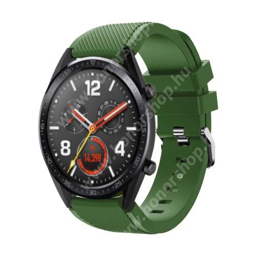 HUAWEI Watch Magic Okosóra szíj - szilikon, Twill mintás - 77mm + 104mm hosszú, 22mm széles - ZÖLD - HUAWEI Watch GT / HUAWEI Watch Magic / Watch GT 2 46mm